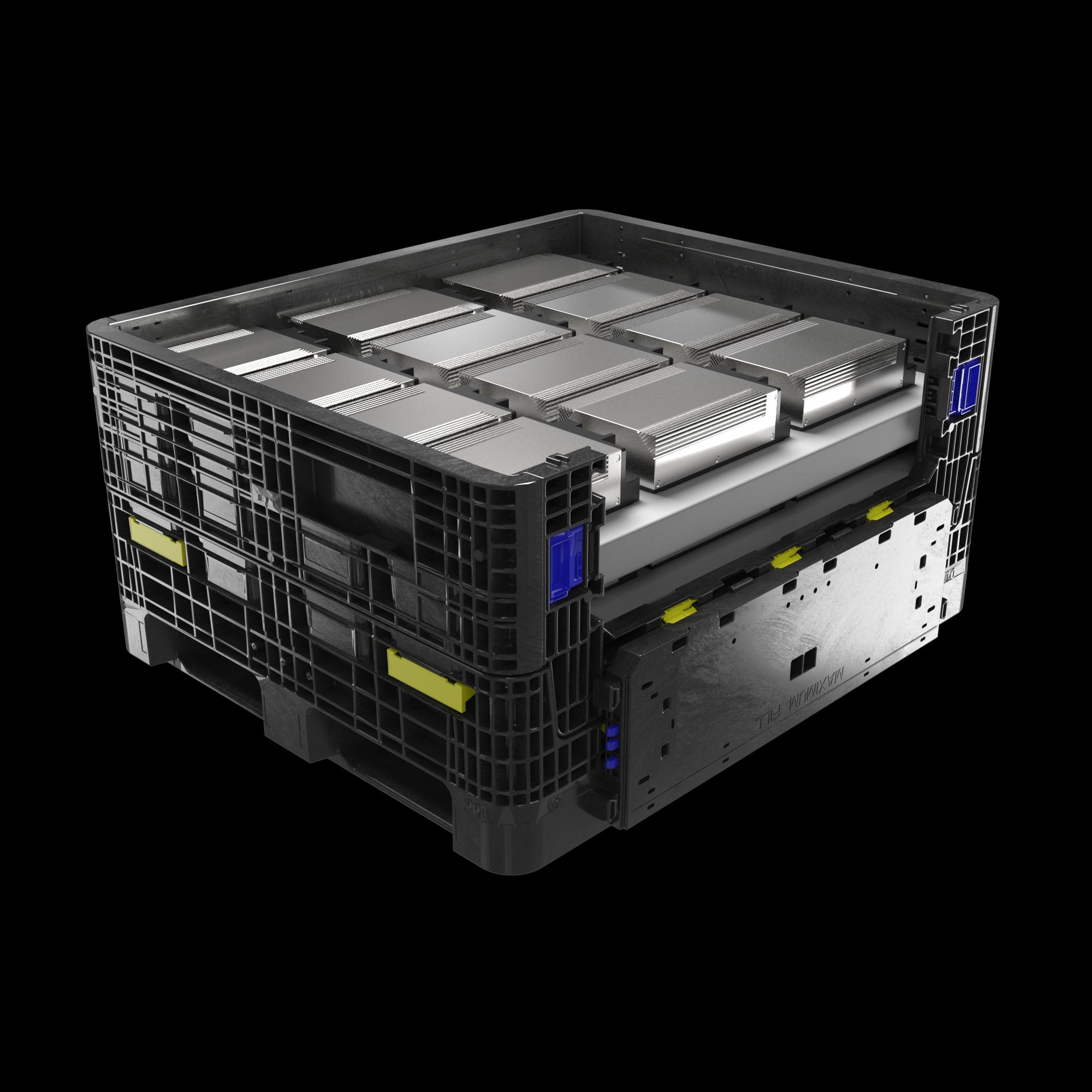 ORBIS IonPak, Großladungsträger aus Kunststoff für den Transport von Lithium-Ionen-Batterien und Gefahrgut