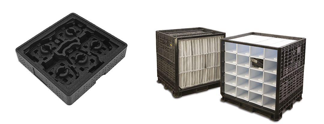 Individuelle Innenverpackungen für klappbare Kunststoffbehälter