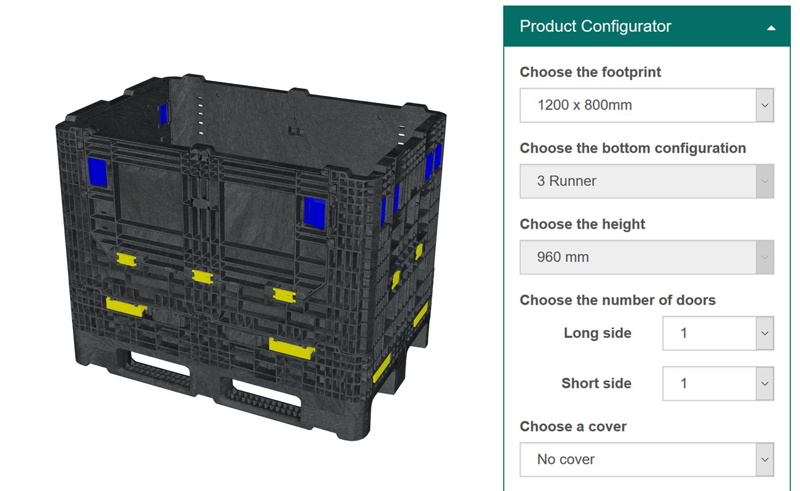 Transportverpackungen und faltbare Großladungsträger aus Kunststoff: Produktkonfigurator